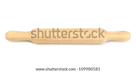 Wooden rolling pin isolated on white background