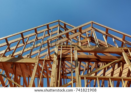 wooden roof construction, for home, house building