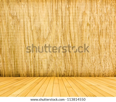 Wooden room background of oak and bamboo floor