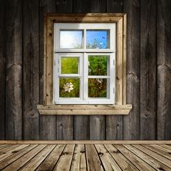 wooden room with a window overlook the garden