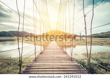 wooden rope bridge. vintage...