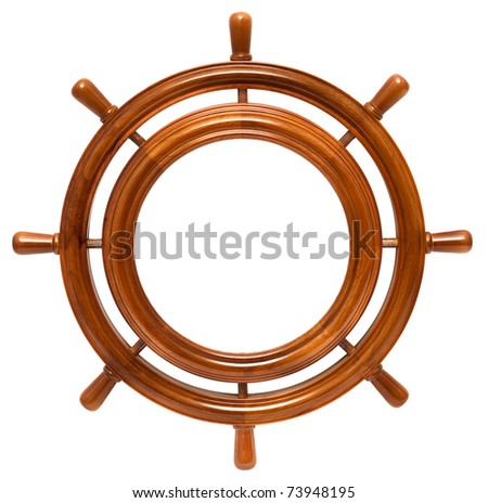 Wooden round frame in helm isolated on white background