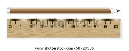 wooden ruler and pencils