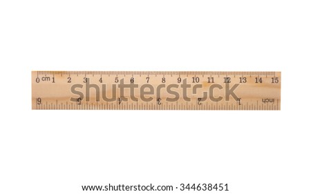 wooden ruler including clipping path - Shutterstock ID 344638451