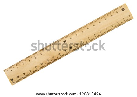 Wooden ruler isolated on white background, close-up