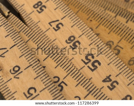 wooden rulers - stock photo