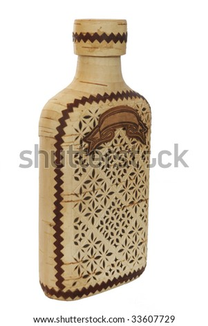 wooden russian ornate flask isolated on white