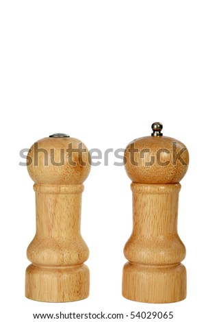 wooden salt and pepper shakers isolated on white