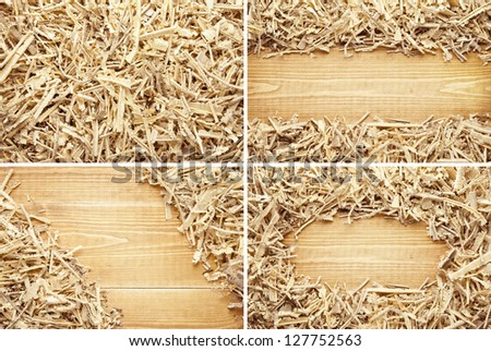 Wooden sawdust and shavings backgrounds with space for text