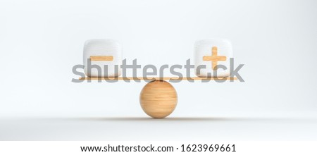 wooden scale balancing cubes with plus and minus symbols in front of white background - 3D rendered illustration Foto stock ©