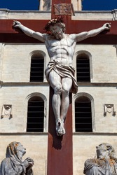 Wooden sculpture of Jesus Christ crucified. Avignon. France. Provence