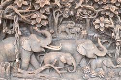 wooden sculpture work in elephant pattern, beautiful wooden sculpture work in elephant pattern