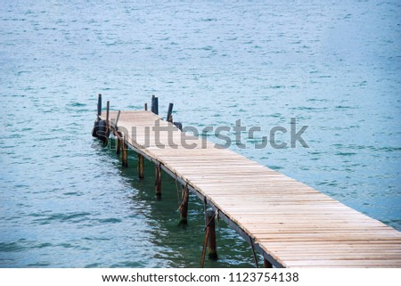 Wooden sea jetty and sea as background. Seascape #1123754138