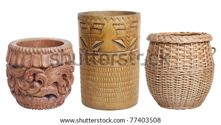 Wooden self-made flower vases set isolated in white