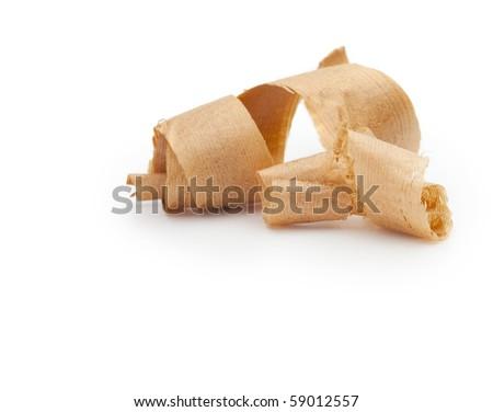 Wooden shavings isolated on white.