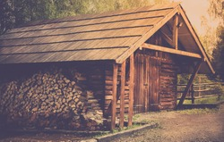Wooden shed and prepared logs somewhere in forest