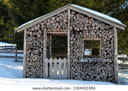 Wooden shed in a winter landscape #1304001886