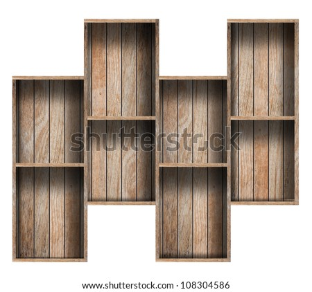 Wooden Shelf Background, isolated on white