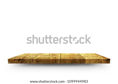 Wooden shelf isolated on white background