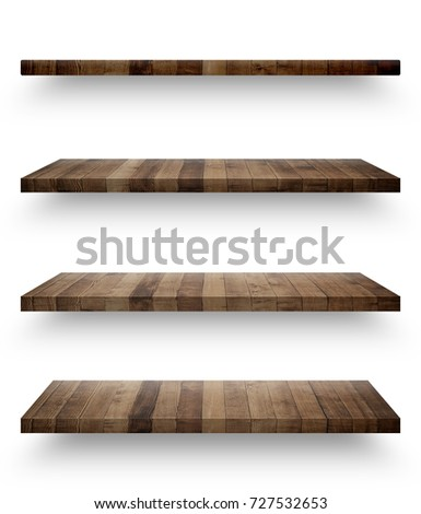Wooden shelf template set isolated on white background with clipping path