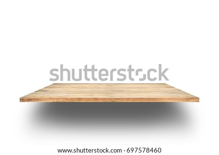 Wooden shelves isolated on white background. #697578460