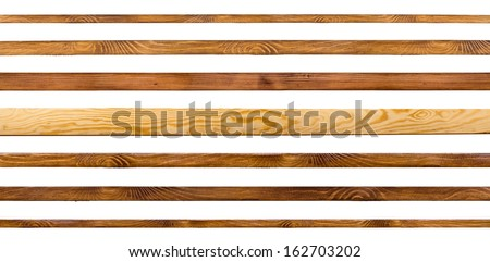 Wooden shelves isolated on white. Board collection