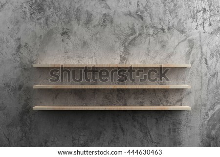 wooden shelves on raw cement...