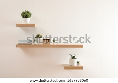 Wooden shelves with beautiful plants and calendar on light wall Сток-фото ©