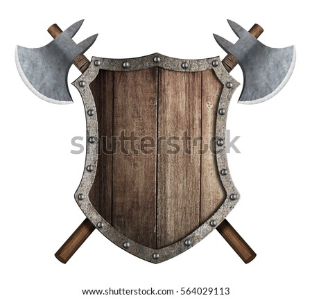 wooden shield and two crossed axes isolated on white