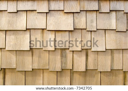 Wooden shingles from the siding of a beach house