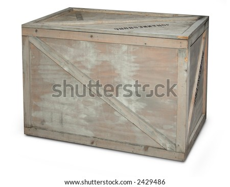 wooden shipping crate isolated on white background