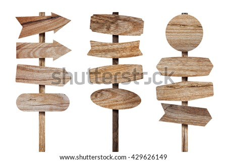 wooden sign board isolated on...