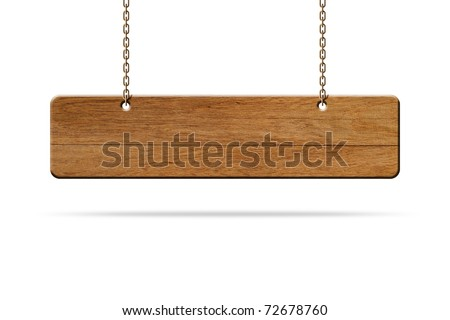 wooden sign hang on white background