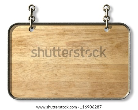 Wooden sign hanging on a chain. 3d