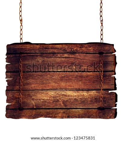 Wooden sign hanging on chains isolated on white.