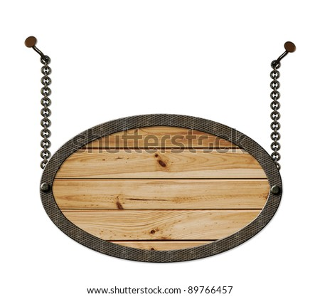 wooden sign hanging on the chains isolated on a white background - stock photo