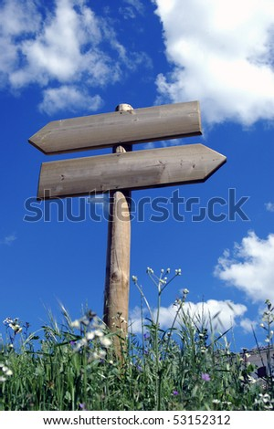 Wooden sign indicative of information for walkers