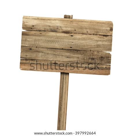 Wooden sign isolated on white. #397992664