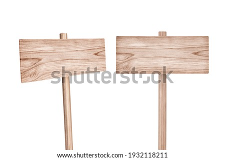 Wooden sign isolated on white, clipping path included. Foto stock ©