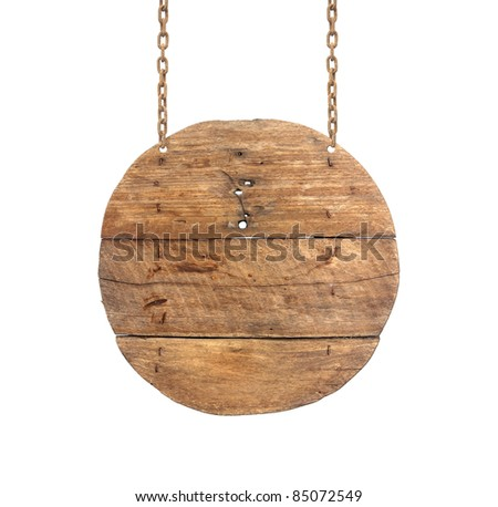 wooden sign on the chains.