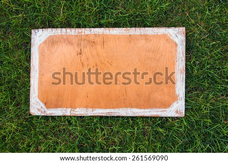 Wooden sign on the grass. Blank board for your text. Spring or summer theme for ads