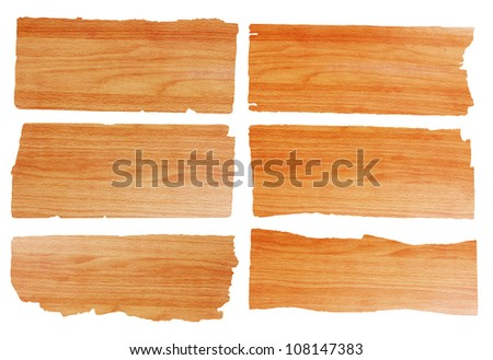 wooden sign on white background with clipping path