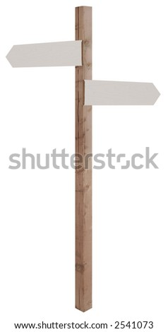 wooden sign post with blank direction signs pointing in opposite directions