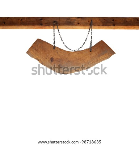 Wooden sign suspended from a wooden beam with chain isolated on white background