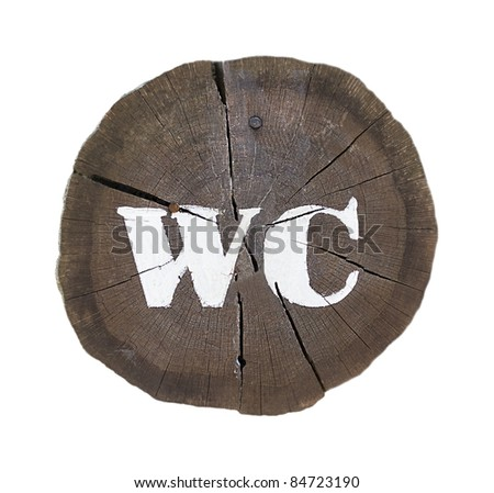 "Wooden sign ""WC"""