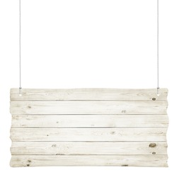 Wooden sign with ropes isolated over white background