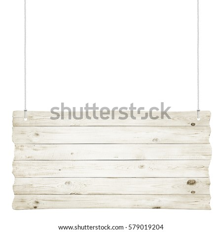 Wooden sign with ropes isolated over white background - Shutterstock ID 579019204