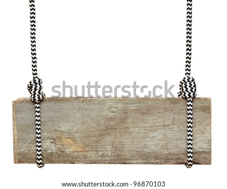 wooden sign with striped rope isolated on a white background