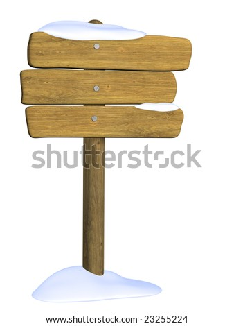 Wooden signboard from three boards. Object over white