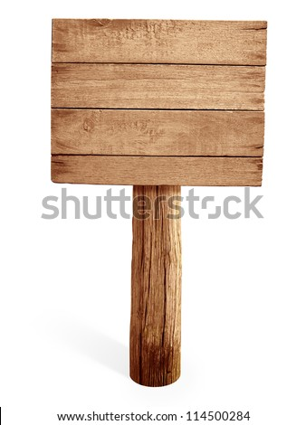wooden signboard isolated on white - stock photo